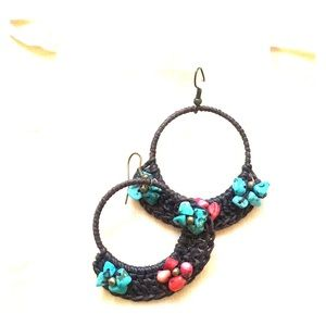 Flower basket hanging hoop earrings